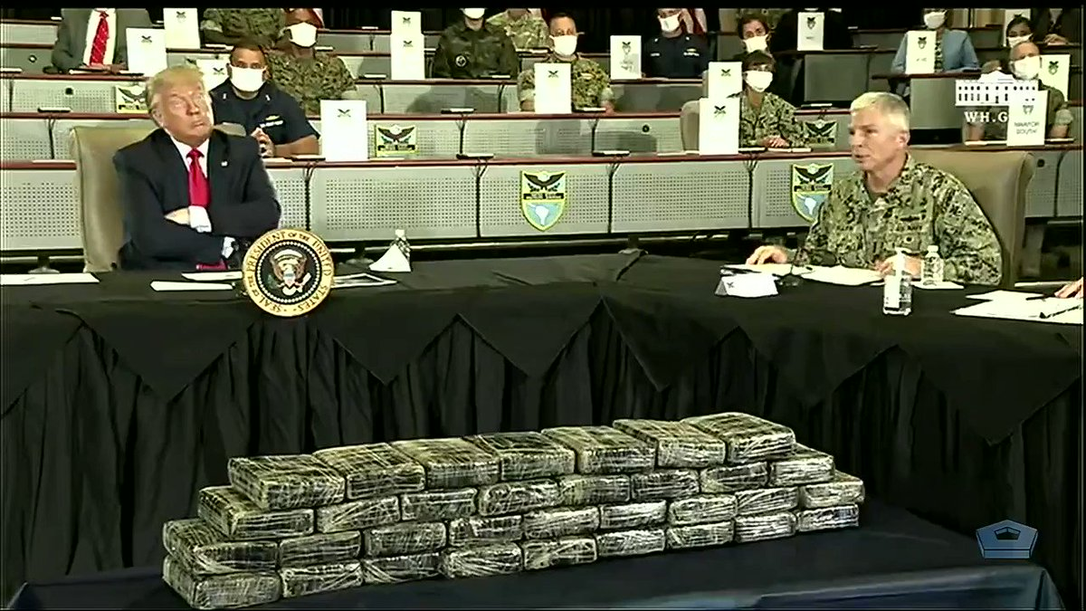 """We've had 15% more disruptions -- that's detainees, that's drugs off the street… 122 metric tons.""  #SOUTHCOM's Adm. Craig Faller, today briefing @POTUS Donald J. Trump on the successes since April 1 of enhanced #CounterDrugOPS in #LatinAmerica and the #Caribbean. #EnhancedCN"