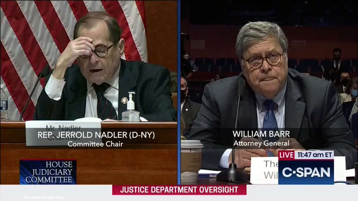 Under my questioning, AG Barr admitted today that he discusses campaign-related matters with President Trump.  Barr, who is supposed to be non-partisan in his role as the people's lawyer, has become the President's political fixer and allowed politics to infiltrate the judiciary.