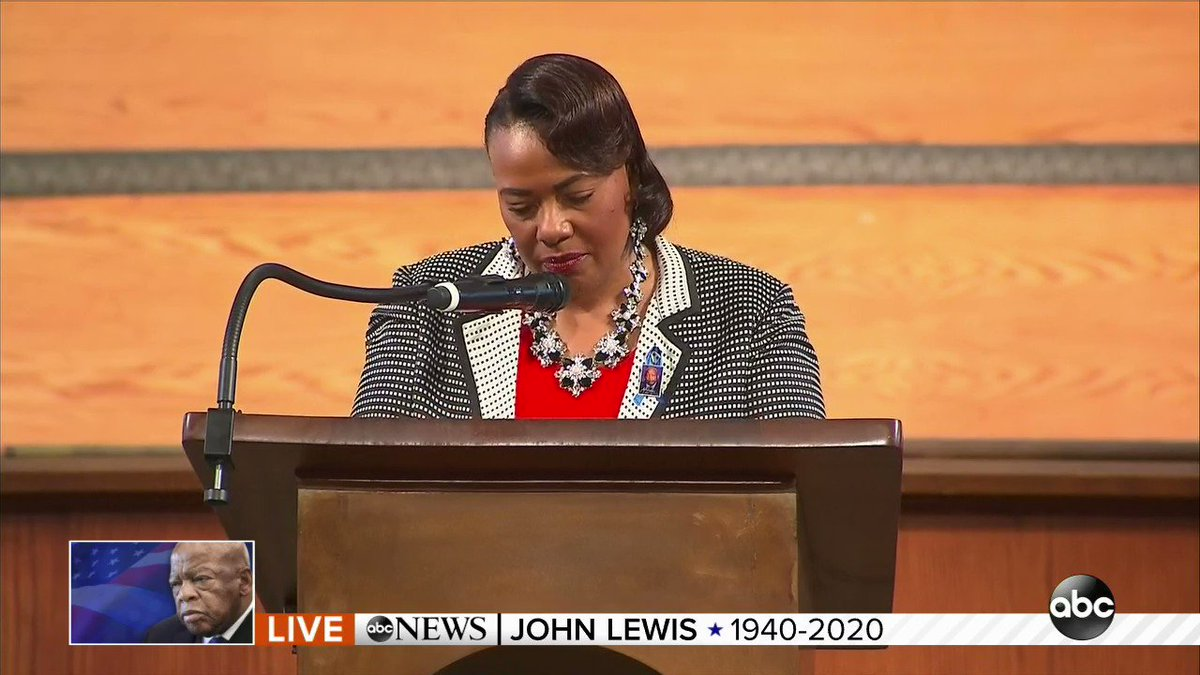 "Rev. Dr. Bernice King, MLK Jr.'s daughter, while honoring John Lewis: ""Grant us God, a double portion for anointing, to get into good trouble until black bodies are no longer a threat in this world and black lives have equitable representation."""