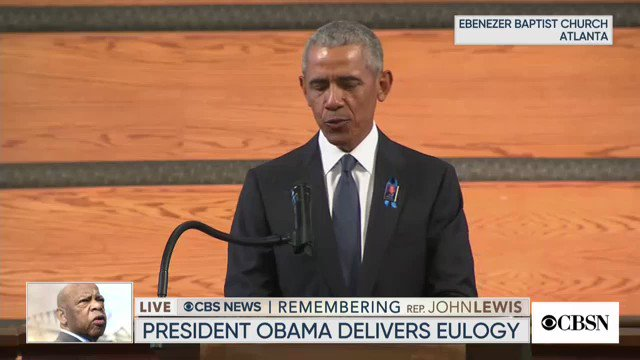 In John Lewis eulogy, Obama calls for making Election Day a federal holiday, giving equal representation to citizens in Washington, D.C. & Puerto Rico, ending partisan gerrymandering, and eliminating the filibuster if it interferes with Americans' rights
