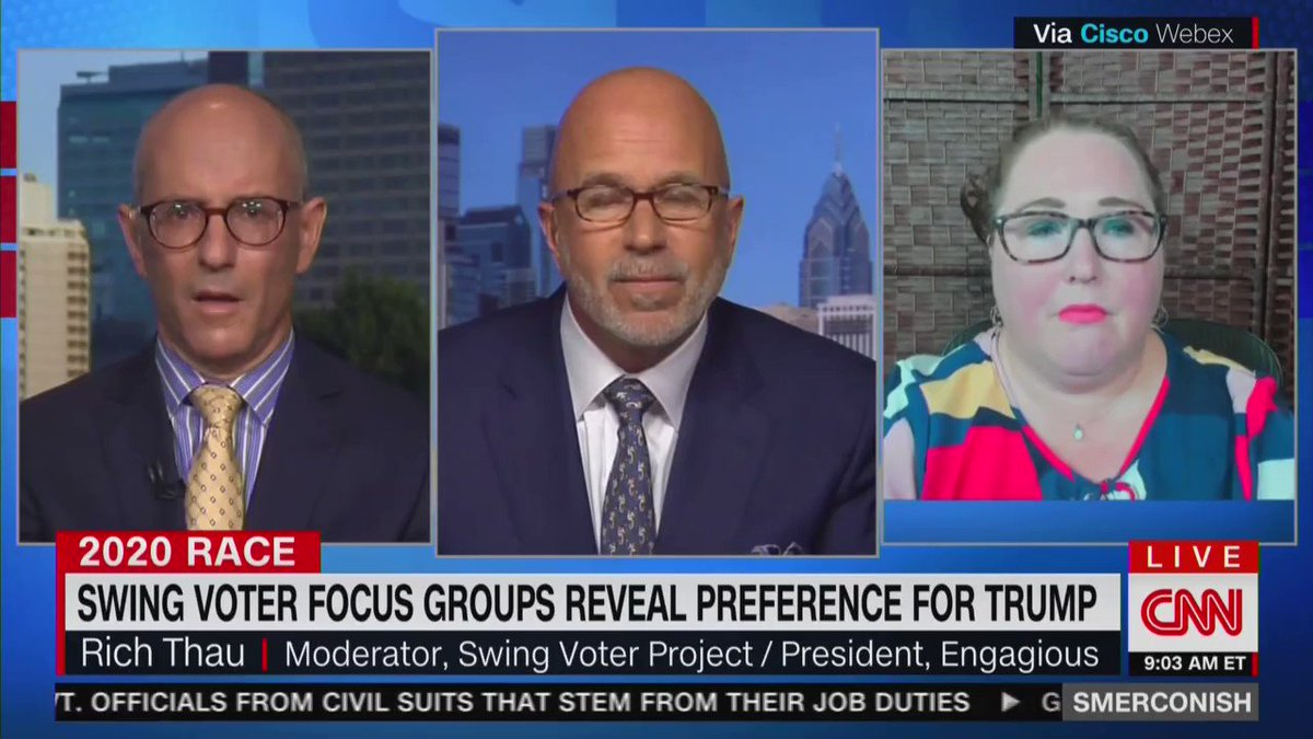"""Focus group moderator who has worked with swing voters in swing states across the country tells a shocked CNN that President Trump is """"winning the argument"""" in swing states."""