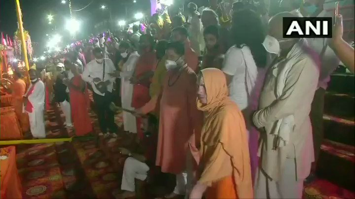 #WATCH Ayodhya: Priests perform 'Aarti' at the ghat of Saryu river.   The foundation stone laying ceremony of #RamTemple is scheduled on 5th August.