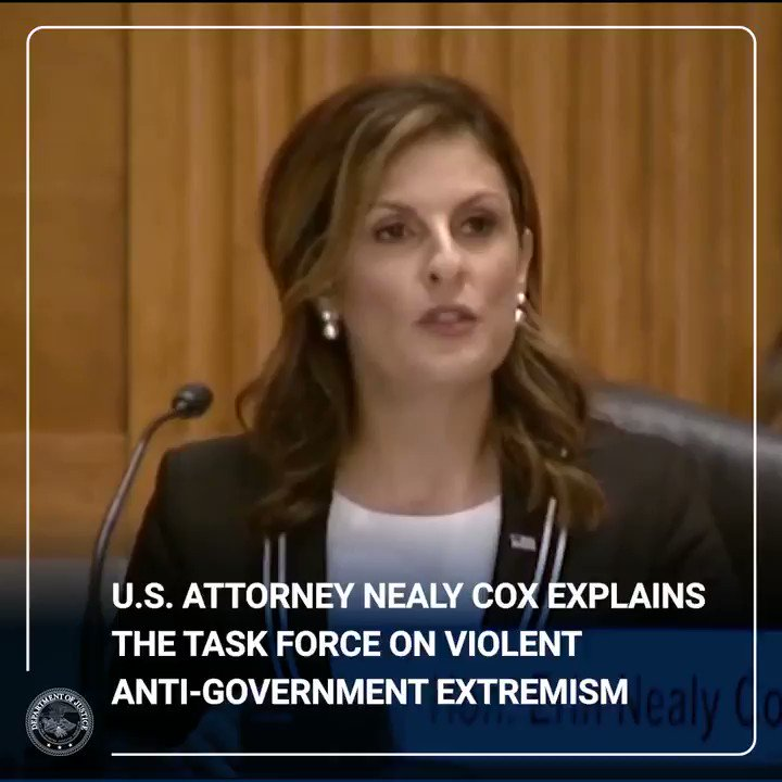 .@USAttyNealyCox explains the Task Force on Violent Anti-Government Extremism during testimony before the Senate Judiciary Committee