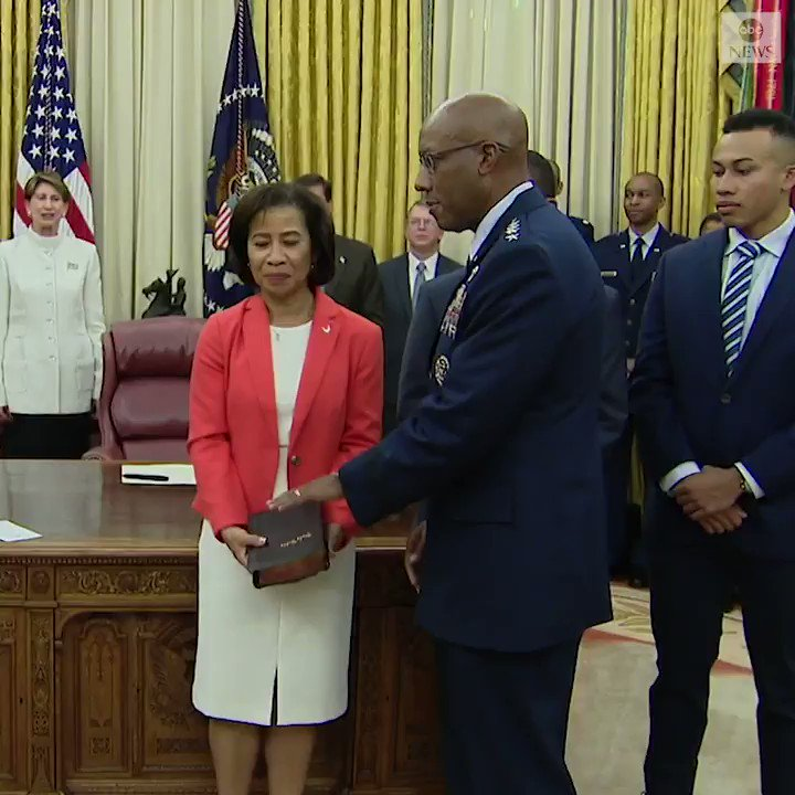 Pres. Trump and VP Pence took part in a ceremonial swearing-in of Gen. Charles Q. Brown as incoming U.S. Air Force chief of staff. Brown will be the first African American to lead a branch of the U.S. military when he's officially sworn in later this week.