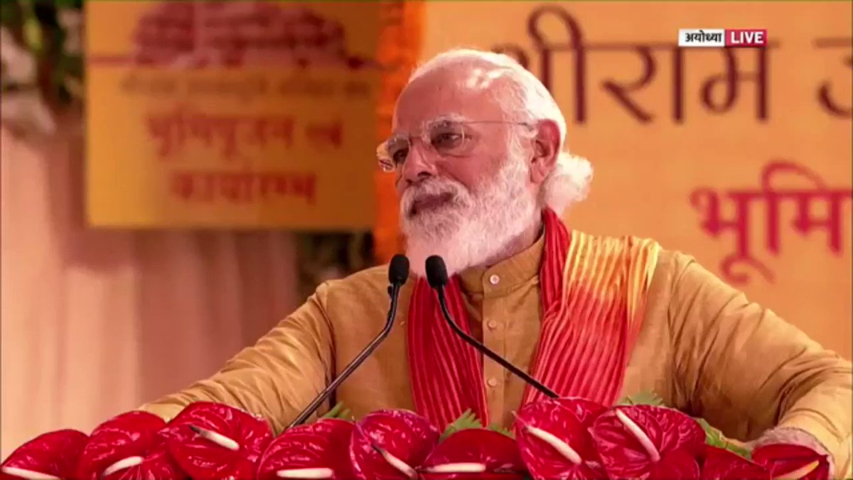 कन्याकुमारी से क्षीर भवानी तक,  कोटेश्वर से कामाख्या तक,  जगन्नाथ से केदारनाथ तक,   सोमनाथ से काशी विश्वनाथ तक,  सम्मेद शिखर से श्रवणबेलगोला तक,  बोधगया से सारनाथ तक,  अमृतसर से पटना साहिब तक,   अंडमान से अजमेर तक,   लक्षद्वीप से लेह तक,  आज पूरा भारत राममय है।