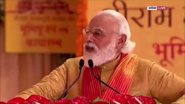 दुनिया में न जाने कितने देश हैं, जहां की आस्था में या अतीत में, राम किसी न किसी रूप में रचे-बसे हैं।  मुझे विश्वास है कि आज इन देशों में भी करोड़ों लोगों को राम मंदिर के निर्माण का काम शुरू होने से बहुत सुखद अनुभूति हो रही होगी।