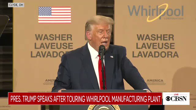"President Trump speaks about ending the ban on incandescent light bulbs: ""I particularly like it so I don't look so orange"""
