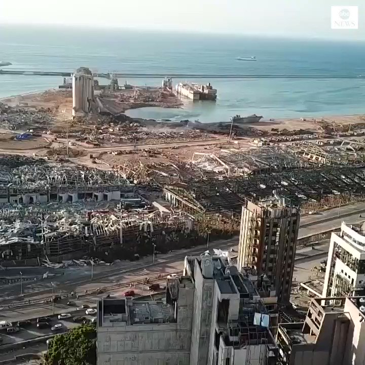 Aerial footage shows devastating aftermath of deadly Beirut blast from above.  Some 300,000 people — more than 12% of the Lebanese capital's population — are unable to return to their homes because of the explosion.