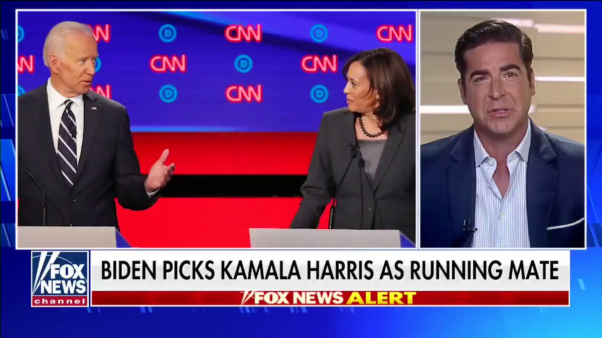 """""""Joe didn't make this pick. This pick was made for Joe and it just shows you the kind of bad judgment and bad instincts that the Biden Campaign has. I wouldn't trust Kamala Harris."""" #TheFive"""