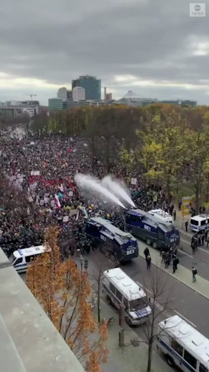 WATCH: German anti-COVID Lockdown protesters make their voices heard as they're met with water cannons.  The CURE cannot be worse than the PROBLEM ⬇️