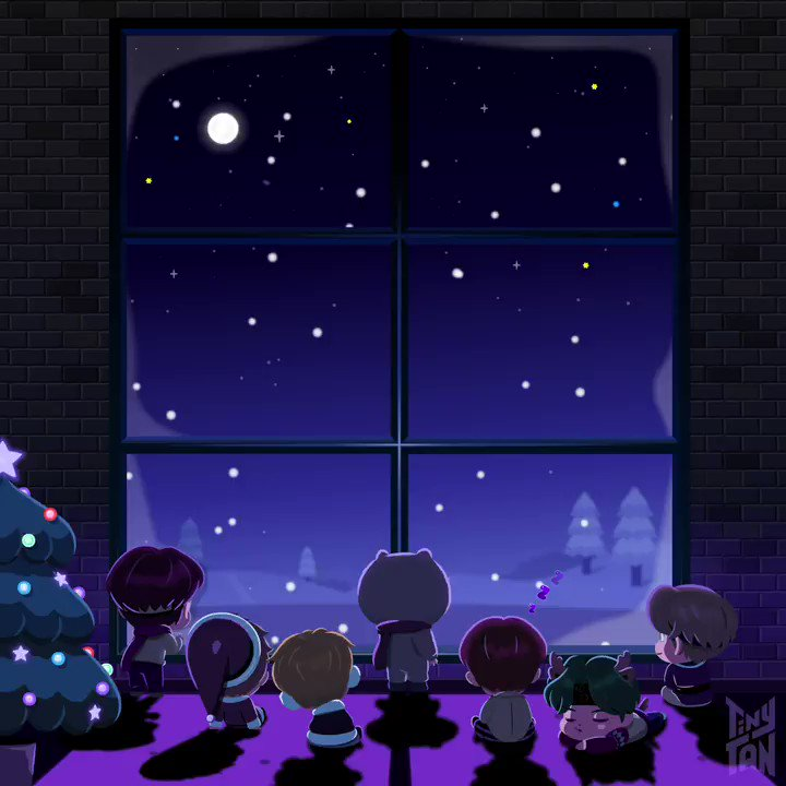 """[#Run_TinyTAN!]  Let's let go of what's gone. We just say, """"Let it snow❄️""""  #TinyTAN #Purple_holiday #Holiday_mood"""