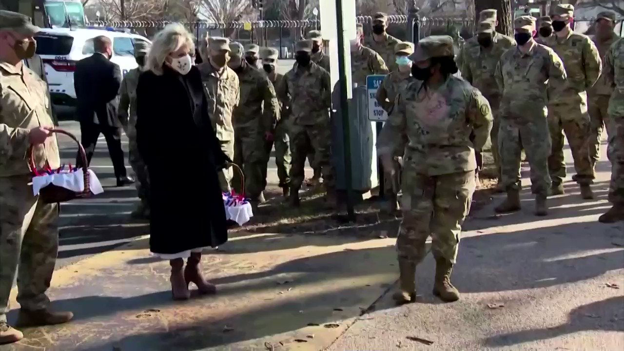First lady Jill Biden thanked the National Guard troops for their service during President Joe Biden's inauguration https://t.co/XO0uuzShP0