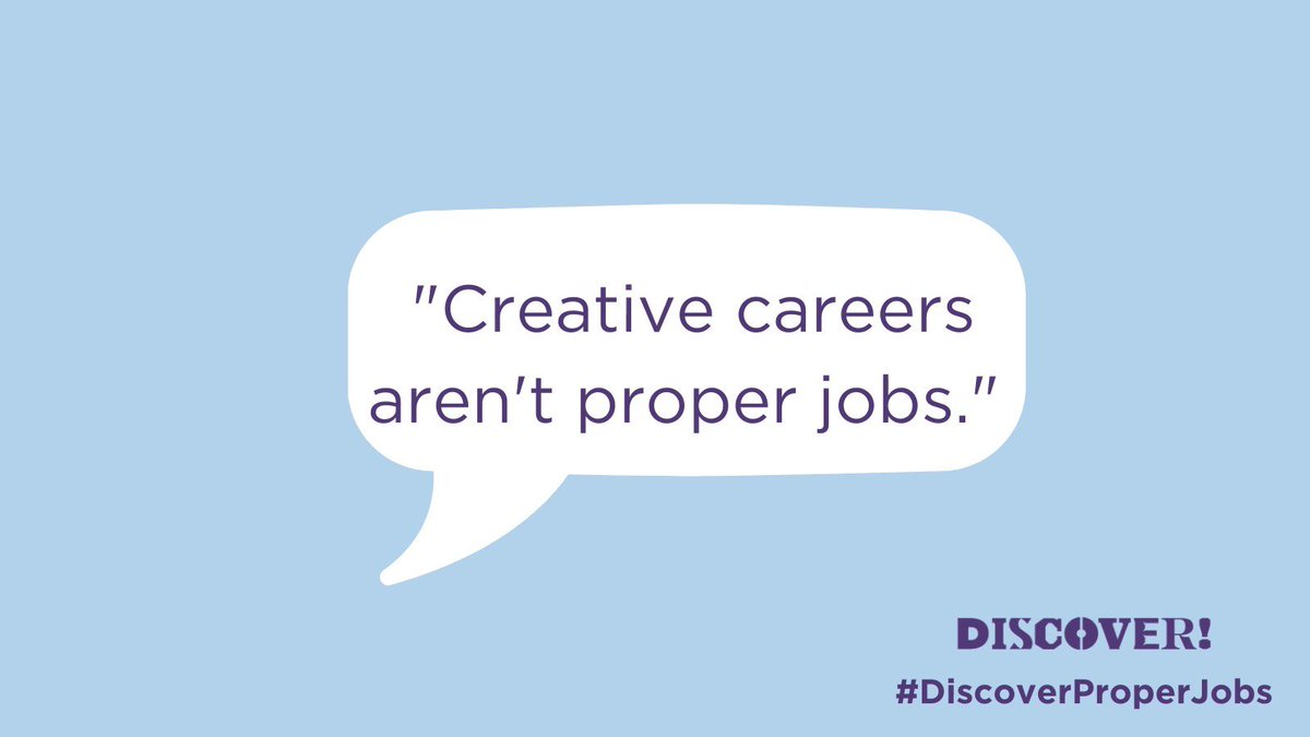 Today we are launching #DiscoverProperJobs to show that, post-Covid, creative careers are not only viable and 'proper', but are exciting, current, relevant, and well-respected.    Join us as we bust myths and break down common misconceptions around roles in our brilliant sector. https://t.co/LWswSBapoS