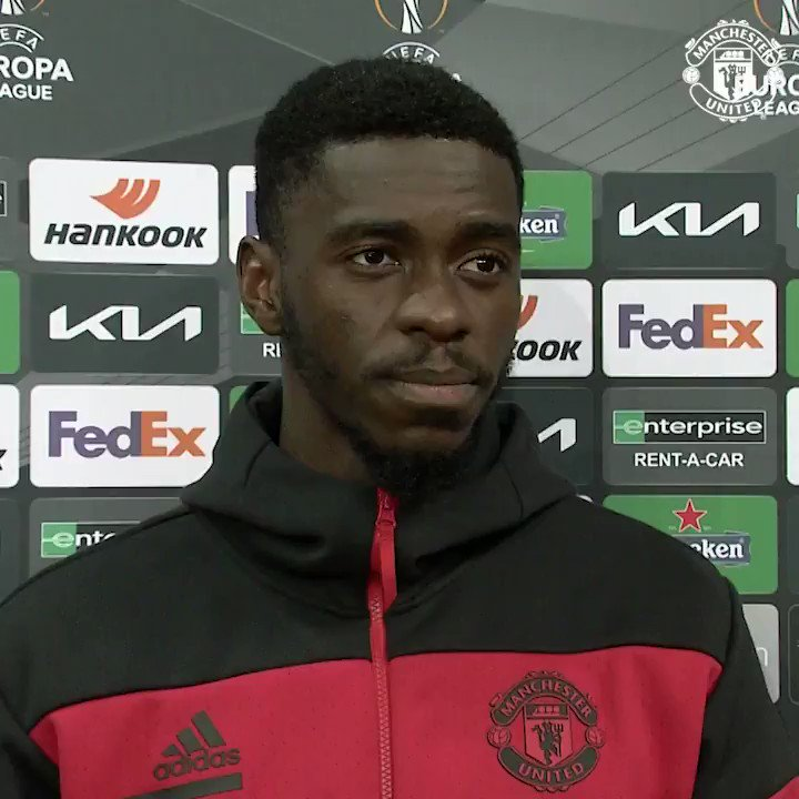This man thought he'd opened his #MUFC account, but it wasn't to be 😫  Time for a post-match word from Axel Tuanzebe 👇  🏆 #UEL