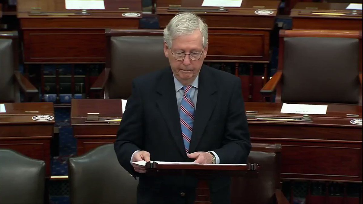 """Sen. Mitch McConnell: """"In this supposed new era of healing leadership, we're about to watch one party ram through a partisan package on the thinnest of margins."""""""