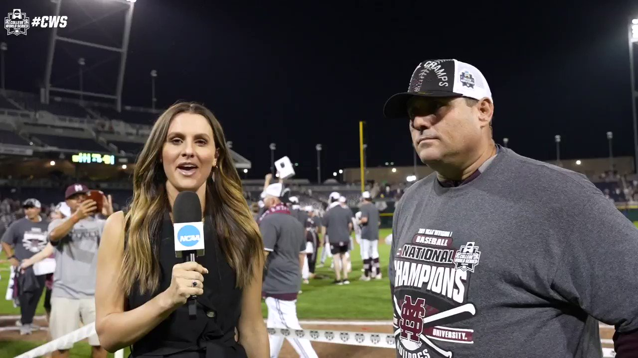 """""""They'll be legends forever""""   @HailStateBB Head coach @lemo22 talks to @michellachester after the #CWS title about winning the first championship in Mississippi State history. https://t.co/z56WLdgUb2"""