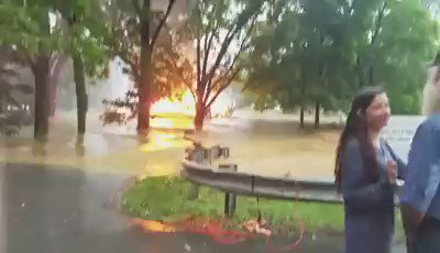 Check out this shocking video out of White Sulphur Springs. A burning house swept away by floodwater #EyewitnessWV https://t.co/RX6nAnCL6D