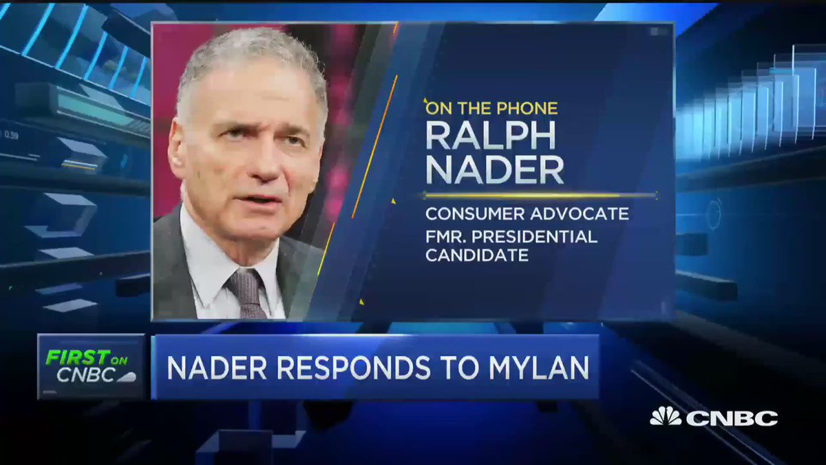"""ICYMI """"Greed on Steroids"""" @RalphNader joins @SquawkStreet talking Mylan https://t.co/zs4a2V1Lj2"""
