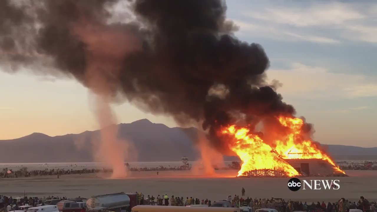 Photographer captures video of dust devils swirling after art installation at 'Burning Man' in Nevada was set ablaze https://t.co/2VzQItQEPP