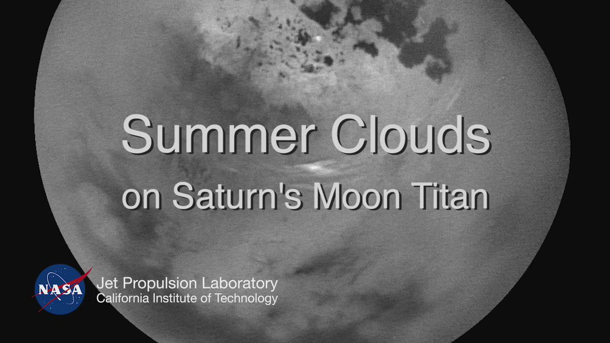 Watch the clouds roll by on #Saturn's moon Titan, as seen by @CassiniSaturn. Details:  https://t.co/XjTlM34SuL https://t.co/3pUMW6BjUN