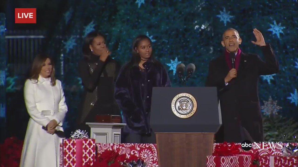 President obama, first family light national christmas tree ...