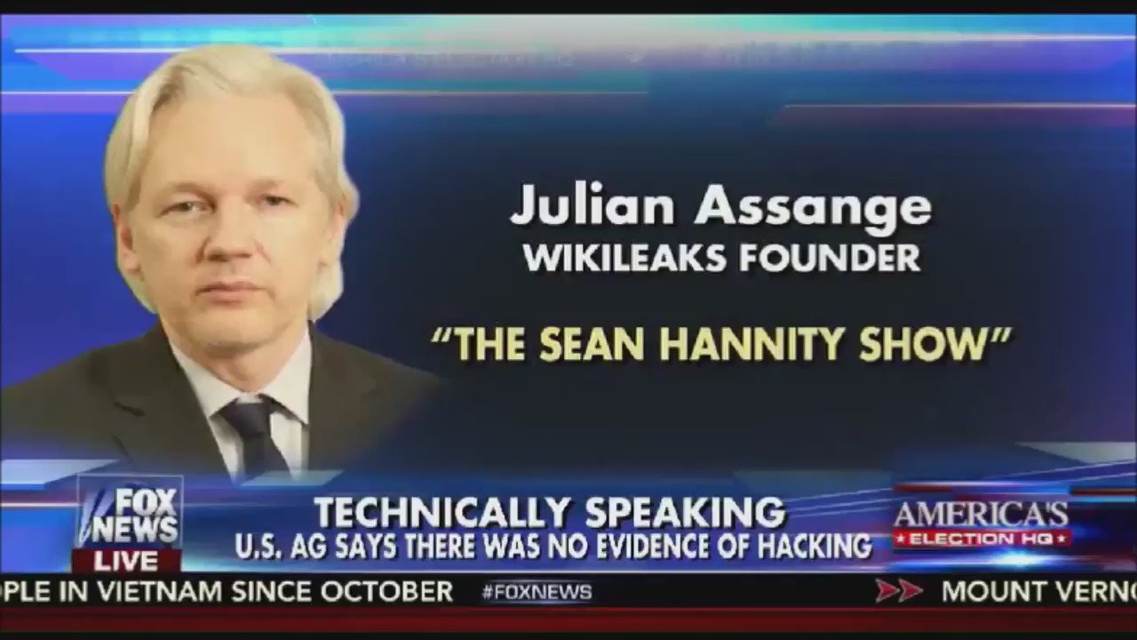 JULIAN ASSANGE: Our source is not the Russian government (via #Hannity) https://t.co/ySTEg8HBqa