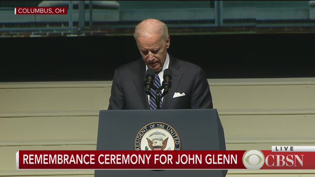 Vice President Joe Biden speaks at remembrance ceremony for space pioneer John Glenn