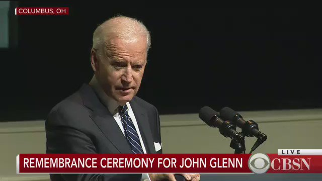 Joe Biden gives his closing statements at the remembrance ceremony for John Glenn