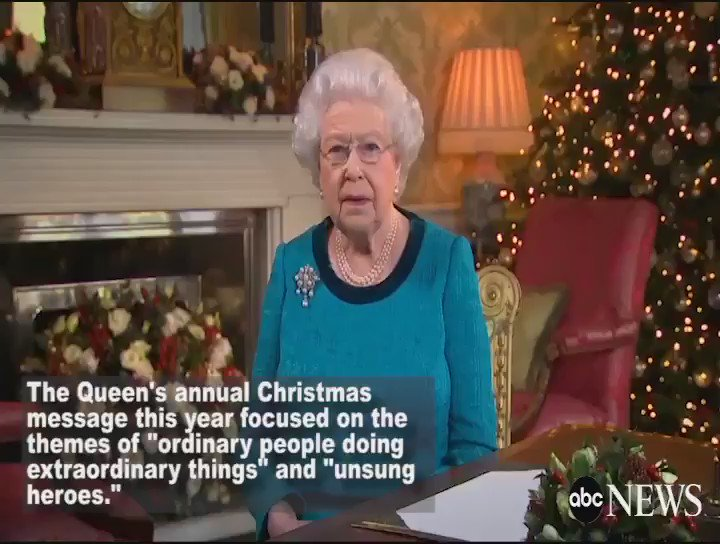 "Queen Elizabeth II uses annual Christmas message to praise those doing ""inspirational"" work."