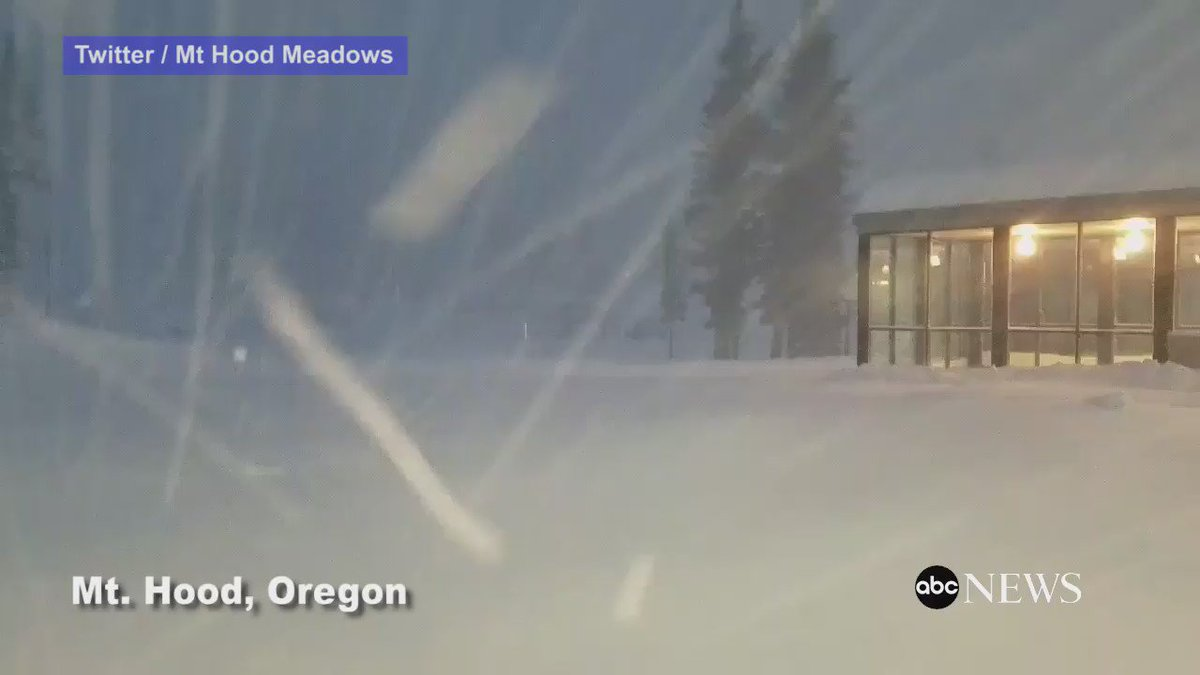 Video shows snowstorm in Mt. Hood, Oregon, where 12 inches of snow fell in just 11 hours.