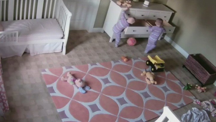 It's OK, they're both fine! The parents of these twins in Utah released this footage to remind us of the danger of unsecured furniture... https://t.co/N8RHgk2CdD
