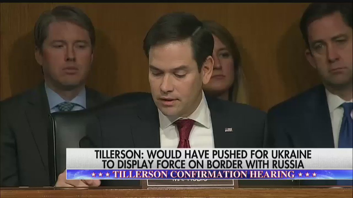 .@marcorubio: 'Is Vladimir Putin a war criminal?' Rex Tillerson: 'I would not use that term.'
