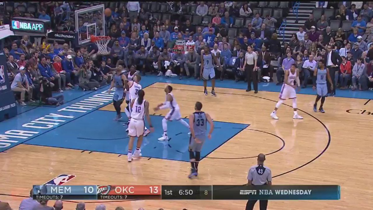 Westbrook and Adams at it already! #NBARapidReplay @ESPNNBA   #ThunderUp https://t.co/PvslFZWLiK