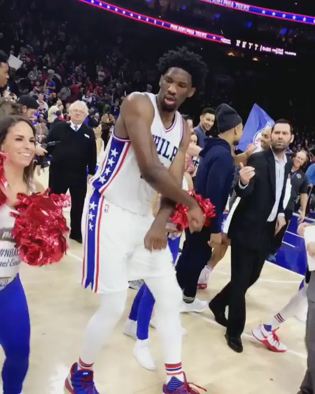 .@JoelEmbiid showed off his dance moves after the @Sixers comeback win �� (via @ChristianCrosby) https://t.co/1It3q7sTI2