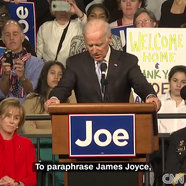 Former Vice President Joe Biden gets emotional while speaking at his home state of Delaware