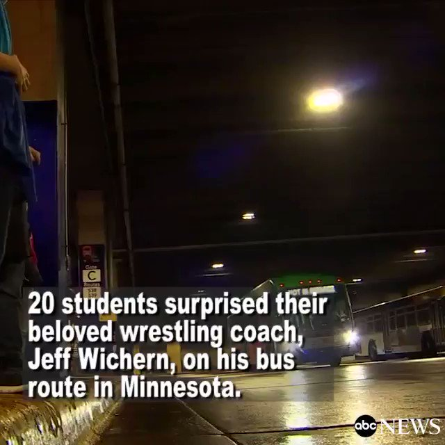 "Students surprise beloved wrestling coach on his bus route. ""Everybody loves him so much."""