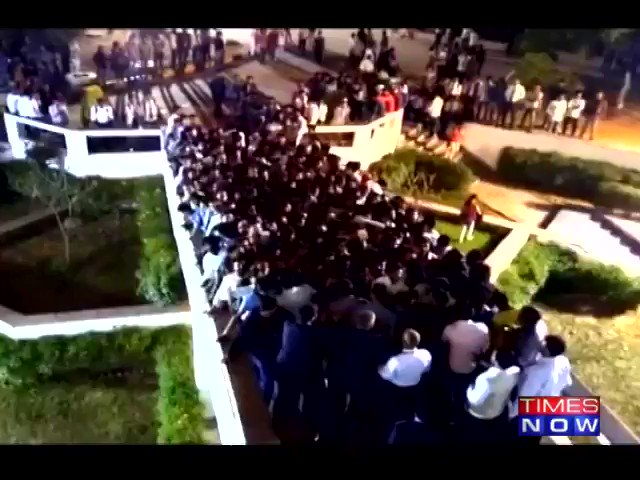 #WATCH Over a dozen students injured after railing of mess path fell in an engineering college in Jaipur