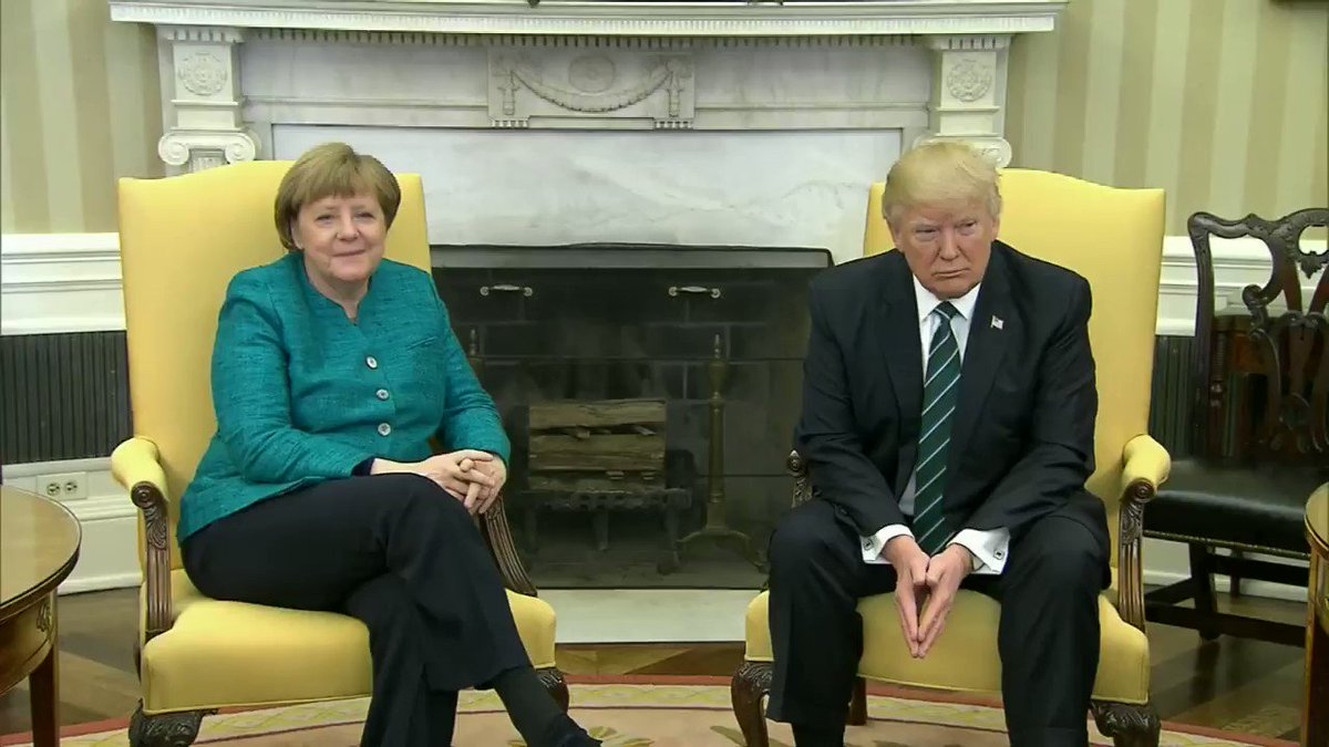 'Can we get a handshake?'  *Merkel looks at Trump*  *Trump grins*  *Press is ushered out without any handshake*