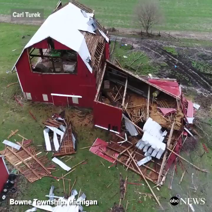Drone footage shows havoc wreaked by a small tornado on a community in Western Michigan.