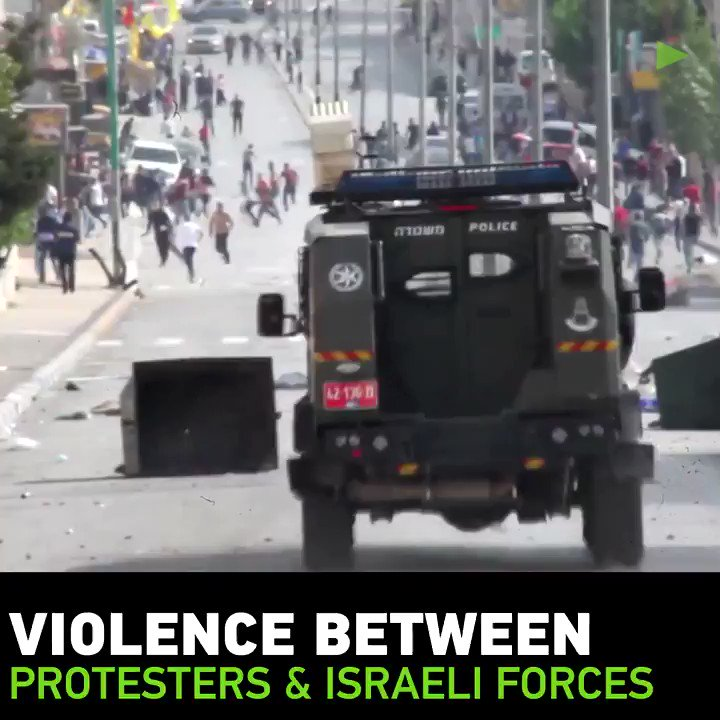 Violence continues between protesters and Israeli border control personnel at the northern entrance of Bethlehem.