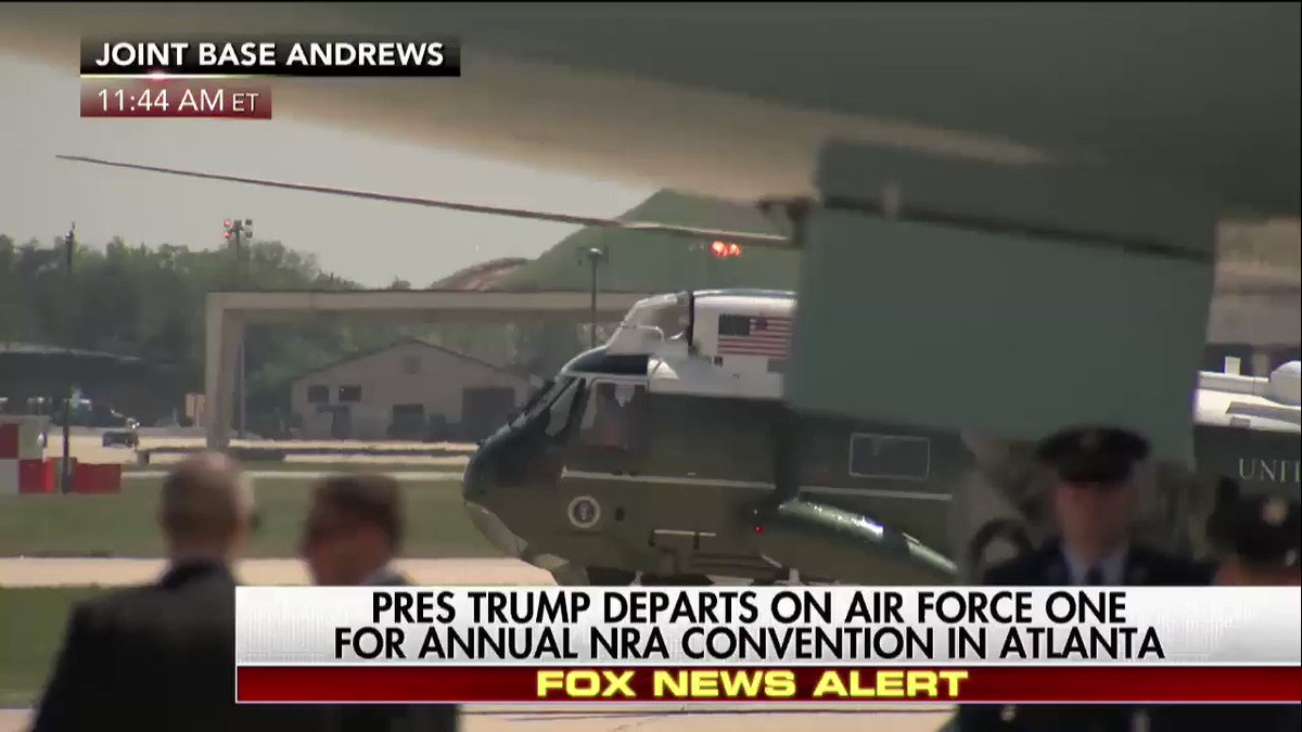 Happening Now @POTUS departs on Air Force One for annual @NRA convention in Atlanta.