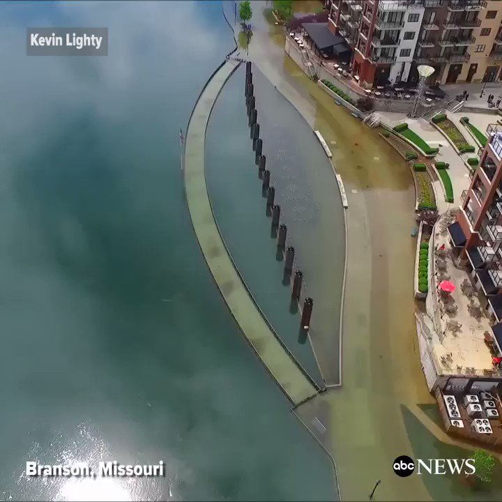 Drone video shows flooding in Branson, Missouri after heavy rains.