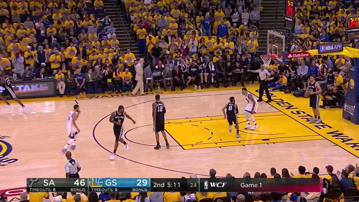 Steph with the steal & the splash! 💦 #NBAPlayoffs