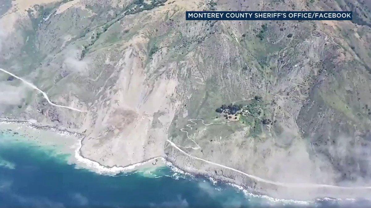 Massive landslide buries stretch of Highway 1 in Big Sur area