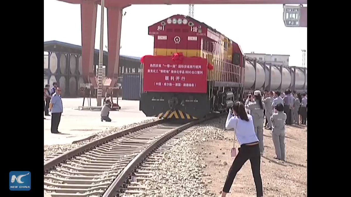 Freight train left Xinjiang for Germany, carrying liquid chemical. It will reach Ludwigshafen in 15 days #XinhuaTV