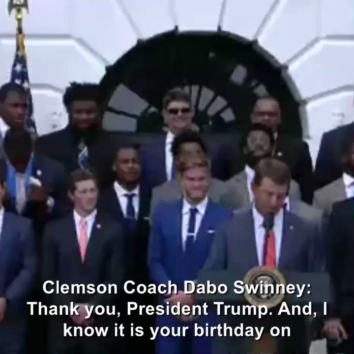 """""""This one's for Barron,"""" Clemson football coach says as he gifts two jerseys to Pres. Trump"""