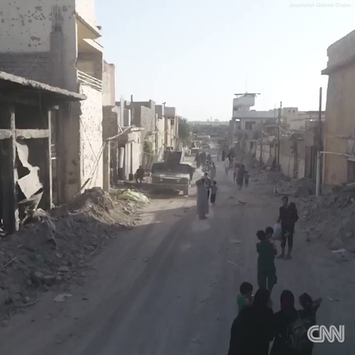 Drone video shows the immense destruction as civilians flee ISIS in Mosul, Iraq