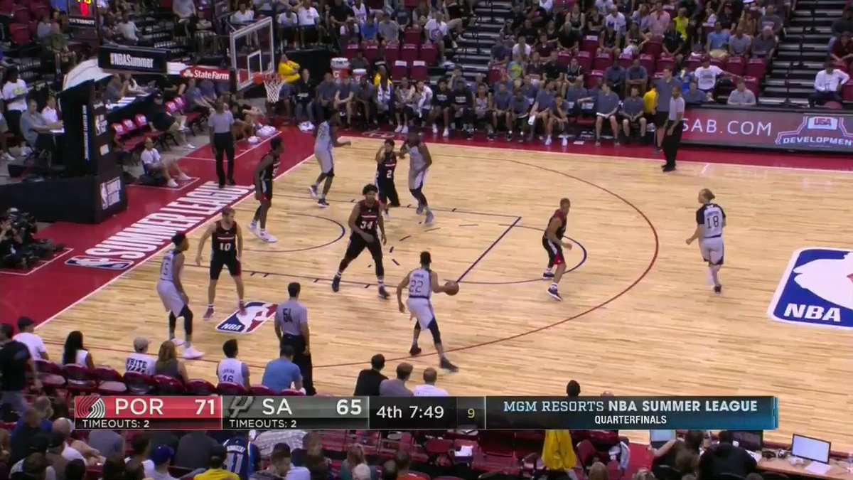 Deeeeep threes from the @spurs.  Fourth quarter action from the #NBASummer Quarterfinals... LIVE on ESPN 2! https://t.co/cZIPDqpBIW