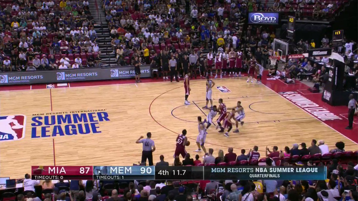 Overtime!!   Gian Clavell rises to the occasion for the @MiamiHEAT and sends the game to OT on ESPN 2. #NBASummer https://t.co/7fhdkDHCEl
