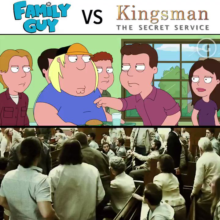 Family Guy brings the church scene from #Kingsman to the cafeteria... (Warning Extreme Violence)